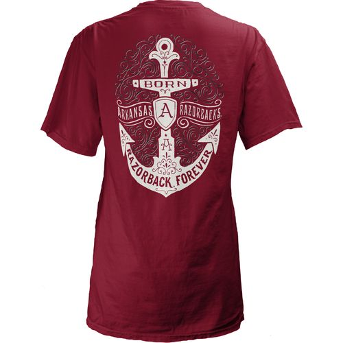 Three Squared Juniors' University of Arkansas Anchor Flourish V-neck T-shirt