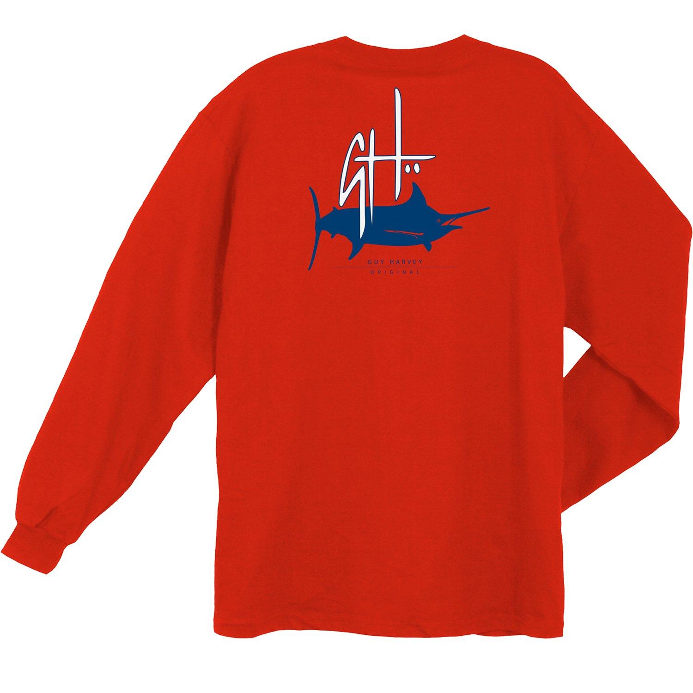 Guy Harvey Men 39 S Initial Logo Long Sleeve Pocket T Shirt