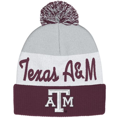 adidas™ Men's Texas A&M University Cuffed Pom Knit Cap