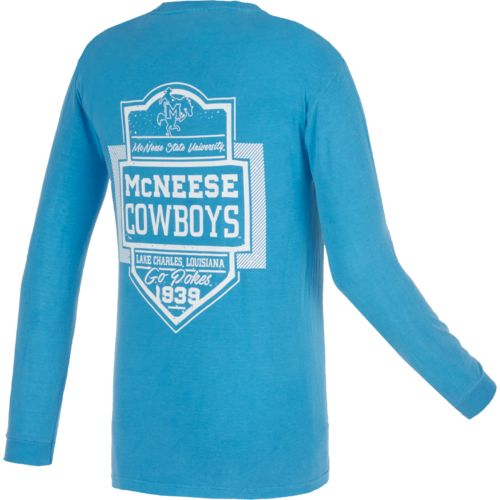 Image One Men's McNeese State University Finest Shield Comfort Color Long Sleeve T-shirt