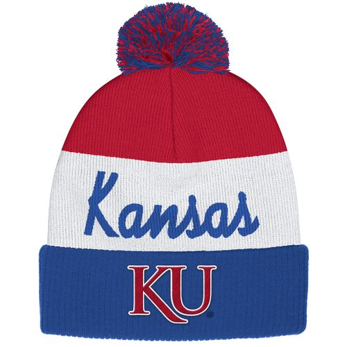adidas™ Men's University of Kansas Cuffed Knit Pom Beanie