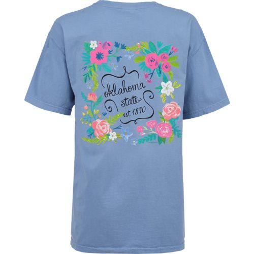 New World Graphics Women's Oklahoma State University Comfort Color Circle Flowers T-shirt