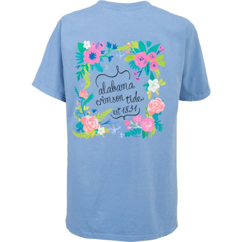 New World Graphics Women's University of Alabama Comfort Color Circle Flowers T-shirt