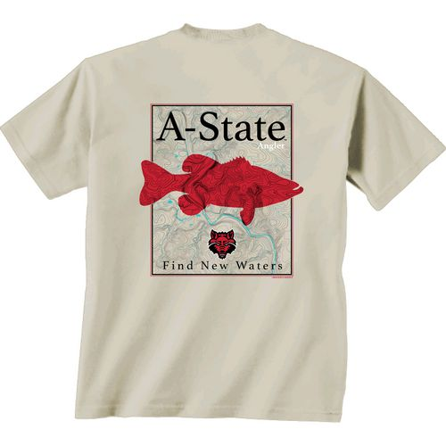 New World Graphics Men's Arkansas State University Angler Topo Short Sleeve T-shirt