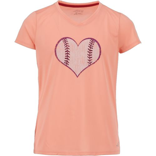 BCG Girls' Softball Heart Short Sleeve T-shirt