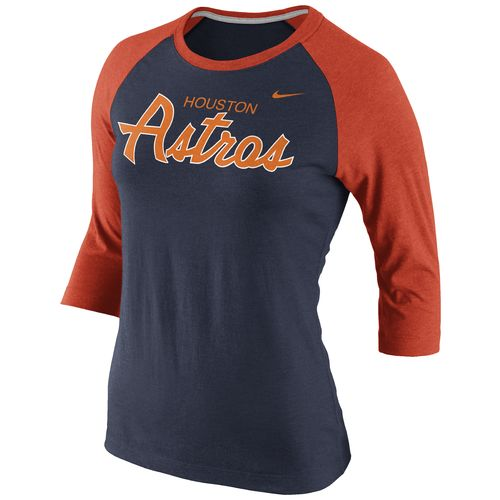 Nike Women's Houston Astros 3/4 Sleeve Raglan T-shirt