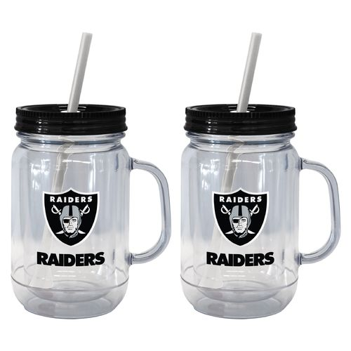 Boelter Brands Oakland Raiders 20 oz. Handled Straw Tumblers 2-Pack for sale