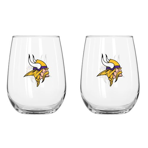 Boelter Brands Minnesota Vikings 16 oz. Curved Beverage Glasses 2-Pack
