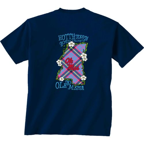 New World Graphics Women's University of Mississippi Bright Plaid T-shirt