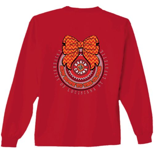 New World Graphics Women's University of Louisiana at Lafayette Ribbon Bow Long Sleeve T-shirt