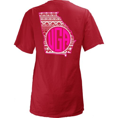 Three Squared Juniors' University of Georgia Moonface Vee T-shirt