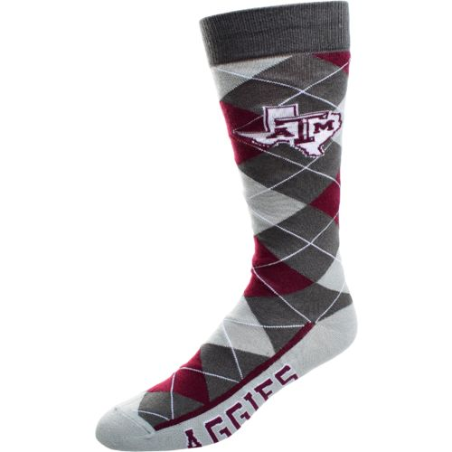 FBF Originals Men's Texas A&M University Argyle Zoom Dress Socks