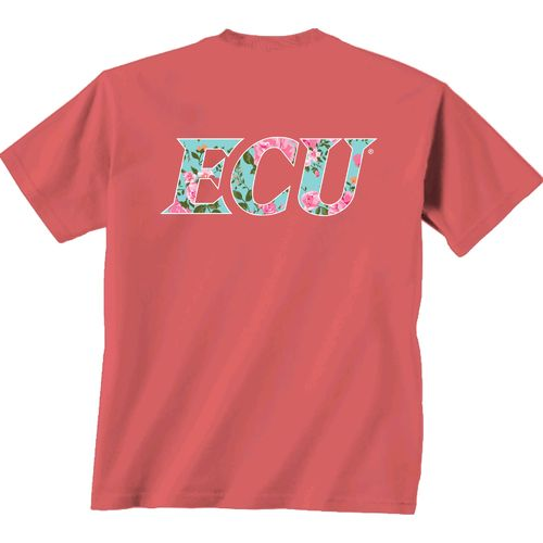 New World Graphics Women's East Carolina University Floral Short Sleeve T-shirt