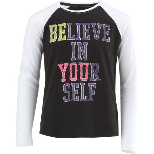 Display product reviews for BCG Girls' Believe Long Sleeve Raglan Shirt