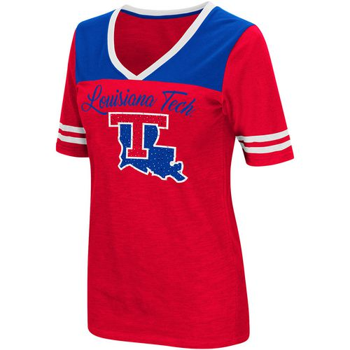 Colosseum Athletics Women's Louisiana Tech University Twist 2.1 V-Neck T-shirt