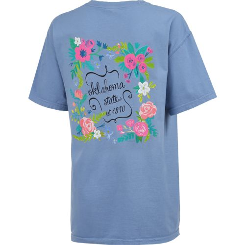 New World Graphics Women's Oklahoma State University Comfort Color Circle Flowers T-shirt - view number 2
