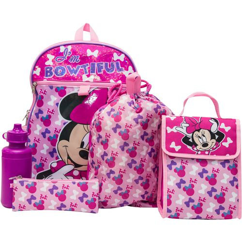 Disney Minnie Mouse Girls' 5 Piece Set Backpack