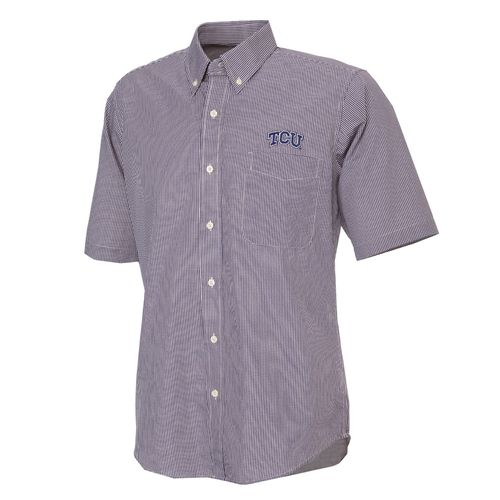Antigua Men's Texas Christian University Focus Short Sleeve Woven Shirt