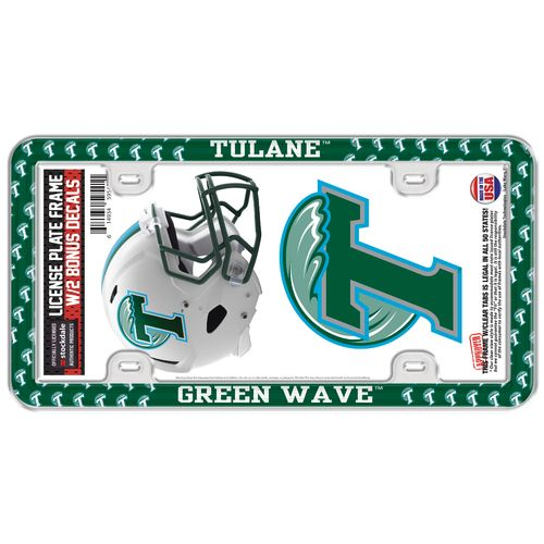 Stockdale Tulane University Thin Rim License Plate Frame and Decals