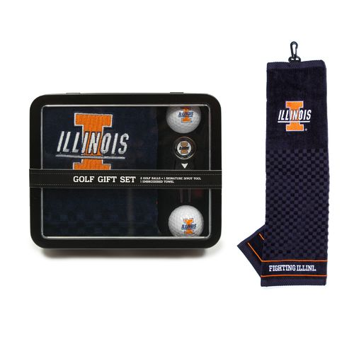 Team Golf University of Illinois Embroidered Towel Tin