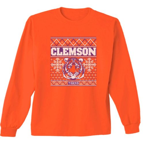 New World Graphics Women's Clemson University Ugly Sweater Long Sleeve T-shirt