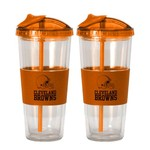 Boelter Brands Cleveland Browns 22 oz. No-Spill Straw Tumblers 2-Pack