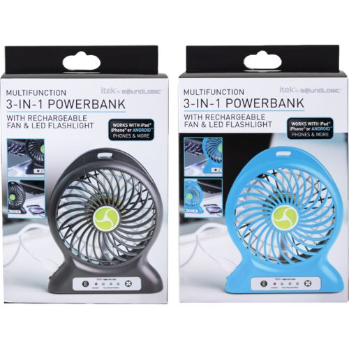 itek™ 2-in-1 Rechargeable Fan and Power Bank