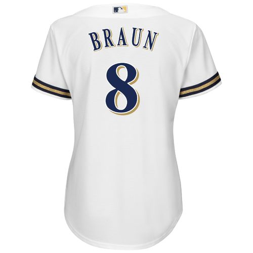 Majestic Women's Milwaukee Brewers Ryan Braun #8 Authentic Cool Base Home Jersey - view number 1