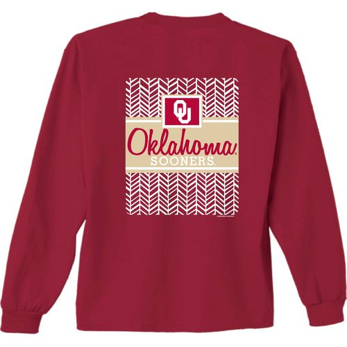 New World Graphics Women's University of Oklahoma Herringbone Long Sleeve T-shirt