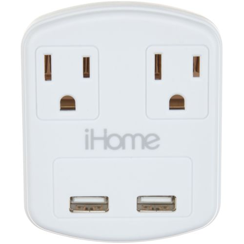 iHome Mini Multicharge Grounded Dual AC Power Adapter with Dual USB Ports