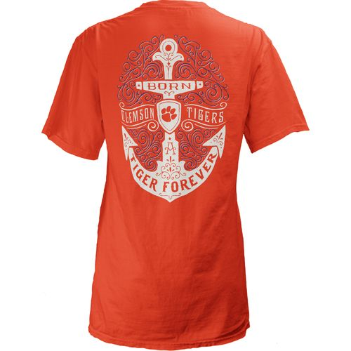 Three Squared Juniors' Clemson University Anchor Flourish V-neck T-shirt