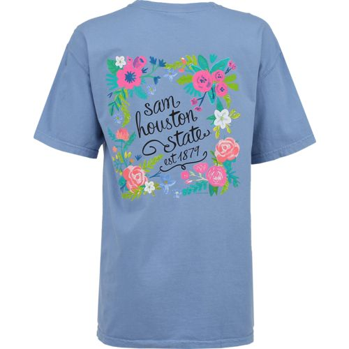 New World Graphics Women's Sam Houston State University Comfort Color Circle Flowers T-shirt