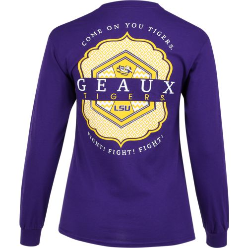 New World Graphics Women's Louisiana State University Faux Pocket Long Sleeve T-shirt