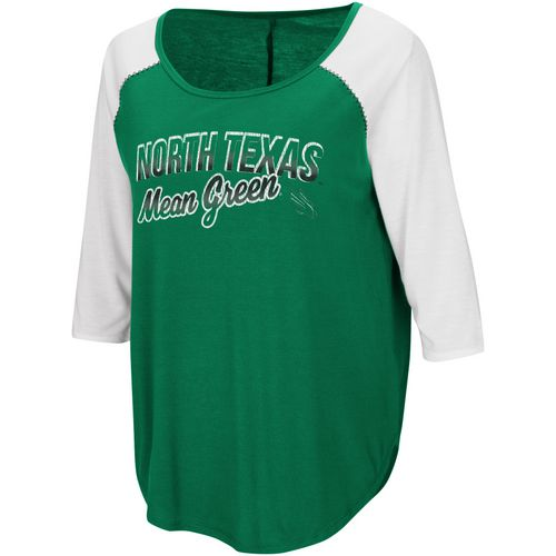 Colosseum Athletics Women's University of North Texas Draw A Crowd Baseball T-shirt