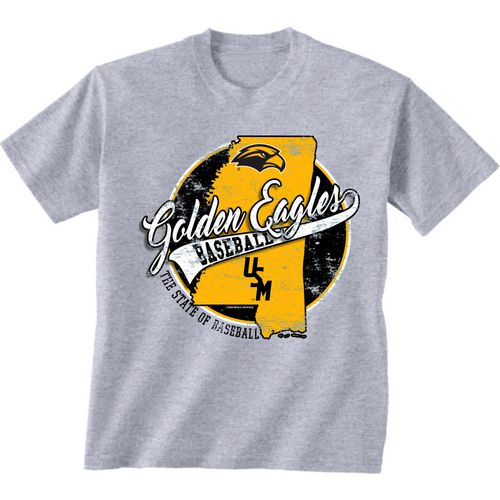 New World Graphics Men's University of Southern Mississippi Baseball State T-shirt