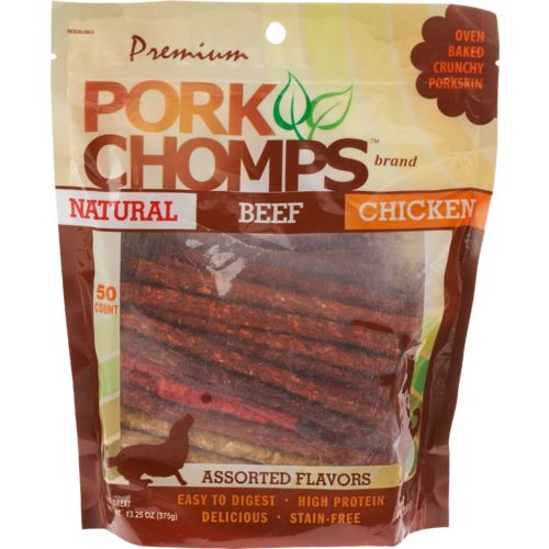 Display product reviews for Pork Chomps Premium Assorted Munchy Sticks 50-Pack