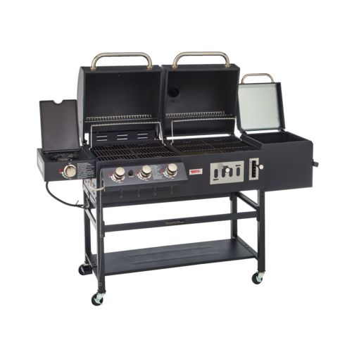 bbq grill gas charcoall smoker box cast iron grates duel cooking sources ebay. Black Bedroom Furniture Sets. Home Design Ideas