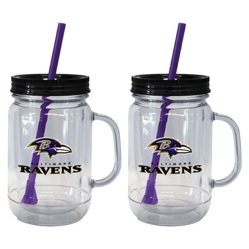 Boelter Brands Baltimore Ravens 20 oz. Handled Straw Tumblers 2-Pack