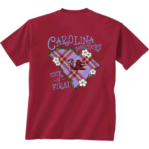 New World Graphics Women's University of South Carolina Bright Plaid T-shirt