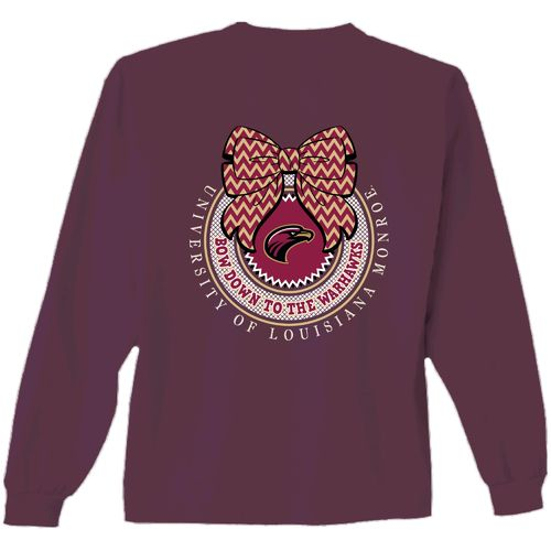 New World Graphics Women's University of Louisiana at Monroe Ribbon Bow Long Sleeve T-shirt