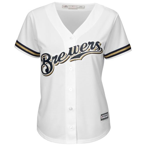 Majestic Women's Milwaukee Brewers Ryan Braun #8 Authentic Cool Base Home Jersey - view number 3