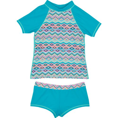 O'Rageous Kids Girls' Chevron Mosaic 2-Piece Rash Guard Swimsuit