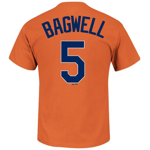 Majestic Men's Houston Astros Jeff Bagwell 5 Cooperstown Player Name and Number T-shirt