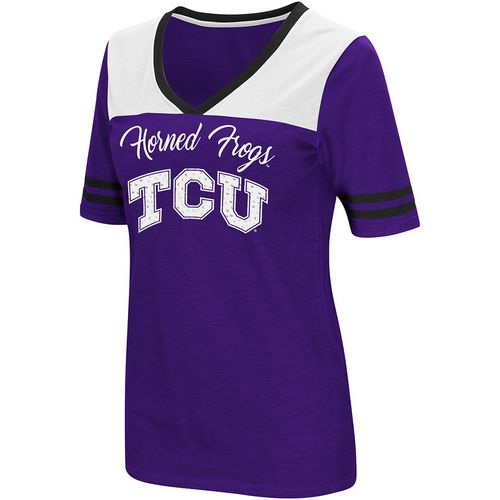 Colosseum Athletics Women's Texas Christian University Twist 2.1 V-Neck T-shirt