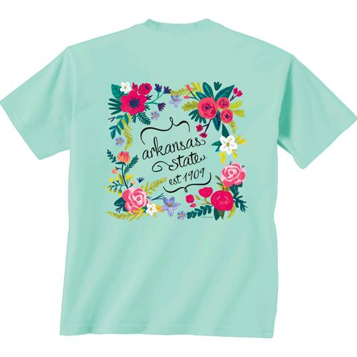New World Graphics Women's Arkansas State University Comfort Color Circle Flowers T-shirt