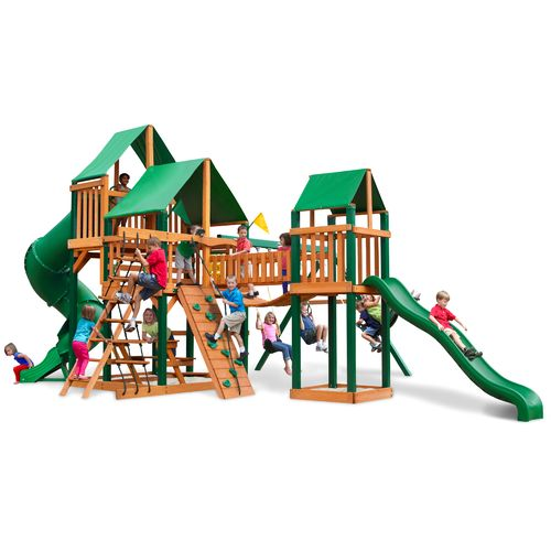 Gorilla Playsets™ Treasure Trove Swing Set with Timber Shield™ and Deluxe Vinyl Canopy