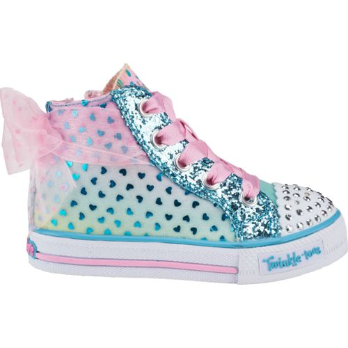 SKECHERS Girls' Twinkle Toes Shuffles Pixie Bunch High Top Shoes