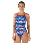 Speedo Women's Champs and Stripes Printed 1-Piece Swimsuit