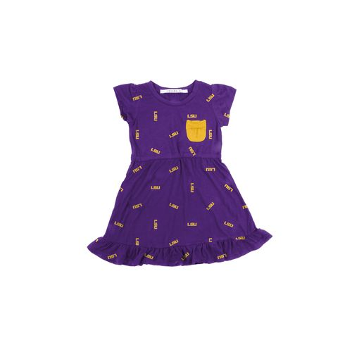 Chicka-d Toddler Girls' Louisiana State University Cap Sleeve Ruffle Dress