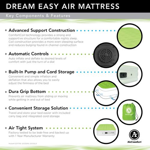Air Comfort Dream Easy Queen-Size Air Mattress with Built-In Electric Pump - view number 10